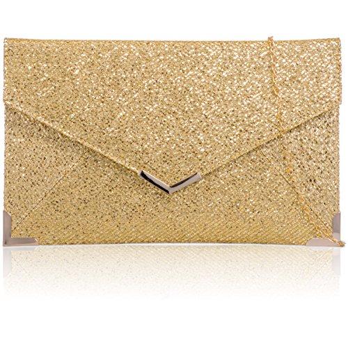 xardi London Nuovo Da Donna Glitter, misura media da sposa pochette busta donne Sera Borsa Gold