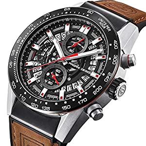 Chronograph Watch for Men Stainless Steel Bracelet Black Dial Luxury Waterproof Quartz Analogue Watch …