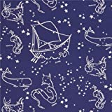 navy blue with off-white star constellation poplin organic fabric from the USA (per 0.5m)