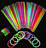 Aookey 100 Braccialetti Fluorescenti Starlight Glowstick, Barre Luminose per Party, 100 Pezzi Connettori per Collana Lucida