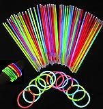 tankerstreet 100Pack Premium Glow Sticks Tube mit Stecker Glow Halsketten Gläser Triple Armbänder Stirnband Ohrringe Blumen Ball Light Up Toys gemischt Farben Party Supplies Dekorationen Gastgeschenken