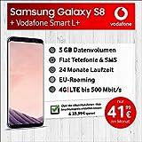 Vodafone Samsung Galaxy S8 Allnet-Flat Smart L+ inkl. 5 GB Highspeed Volumen mit Max 500 Mbit/s inkl. Telefonie- und SMS - Flat, EU-Roaming, 24 Monaten Min. Laufzeit, mtl. € 41,99
