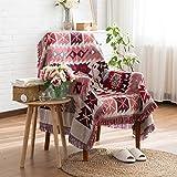 Dulcii Decorative 100% Cotton Woven Throw Blanket Sofa Towel Cotton Warm Slipcover 130 x 180cm (Geometric Pattern)
