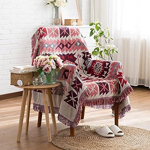 Dulcii Decorative 100% Cotton Woven Throw Blanket Sofa Towel Cotton Warm Slipcover 130 x 180cm (Geometric
