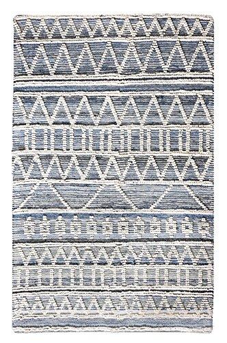 Meubletmoi Alfombra Color Blanco/Azul 120x 180Rectangular Lana y Denin texturée–, diseño geométrico–Kali