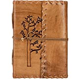 #9: Second May Handmade Leather Diary Journal Tree Embossed Handmade Medium Vintage Leather Journal Diary ,Beige