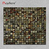 Royllent,Self Adhesive Aluminium Plastic Composite Mosaic,Peel And Stick,Metal Surface,Wall Sticker,Light weight,easy installation,renew old wall (Gold Tellurion) by Royllent