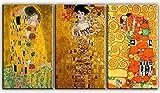 time4art Gustav Klimt Print Canvas 3 Bild 3 x 100x60cm Adele Bloch-Bauer I Baum des Lebens Der Kuss auf Keilrahmen Leinwand