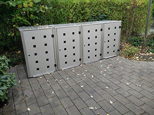 Mülltonnenbox Edelstahl, Modell Eleganza Quad5, 240 Liter als Viererbox - 3
