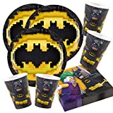 52-teiliges Party-Set Lego Batman - Teller Becher Servietten für 16 Kinder