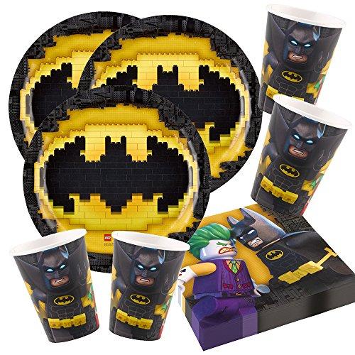 52-teiliges Party-Set Lego Batman - Teller Becher Servietten für 16 Kinder