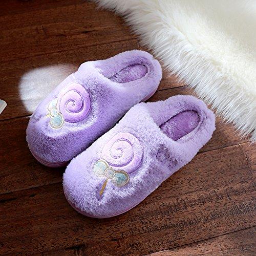 DogHaccd pantofole,Cartoon carino inverno pantofole di cotone felpato uomini e antiscivolo indoor home spesso coppie femmina soggiorno La porpora4