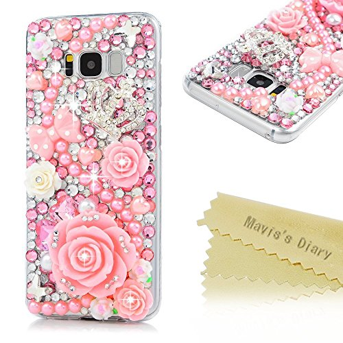 Galaxy S8 Fall, Samsung Galaxy S8 Fall 3D Handmade Bling Colorful Diamonds mit glänzend Sparkle Strass Gems Kristall Klare Full Body Schutz Hard PC Case Cover by Mavis 's Diary, Pink (Herren Kostüme 2017 Diy)