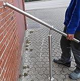 Geländer Edelstahl Außen & Innen Komplett Set | Treppengeländer bodenmontage Bausatz | Wandhandlauf für Treppenhaus Edelstahl-Handlauf massiv & stabil V2a | Eingangsgeländer für Stufen Bayram® (1000mm)