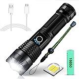 SunTop XHP50 Led-zaklamp, superhelder, 4000 lumen, USB-oplaadbaar, inclusief 18650 batterij, 5 modi, zoombaar, waterdicht, kr