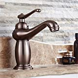 Daadi Küche bad waschbecken wasserhahn ORB Handwerk braune Patina Vintage Messing Griff ein Loch Keramik Ventil warmes und kaltes Wasser, Badezimmer Waschbecken Wasserhahn
