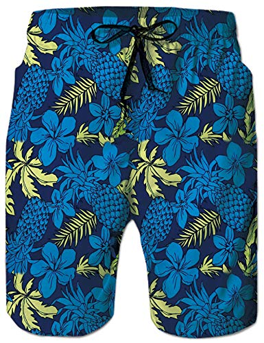 Rave on Friday Männer Badeshorts 3D Digital Gedruckt Blaue Blume Sommer Schwimmhose Urlaub Surfen Strandshorts S (Digital Sommer)
