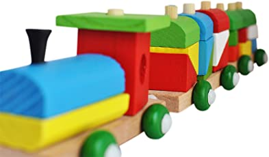 Trinkets & More - Shape Sorter Train (36 Pieces) | Geometric Shapes Wooden Puzzle Stacking Toy | Early Educational Toys Toddlers | Kids 3 + Years