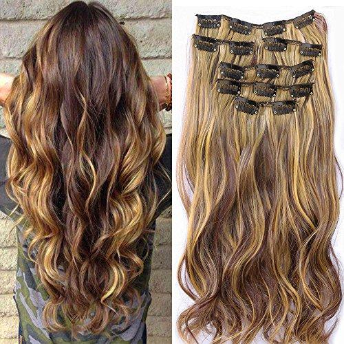Neverland 22inch Haarteile 7 Stück 16 Clips in Haarverlängerungen Ombre Wellig Curly Dip Dye Lange Haarverlängerungen (Mix Brown Black) (Volle Spitze Menschliches Haar Verlängerung)