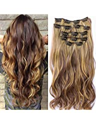 """22""""Full Clip tete dans les extensions de cheveux boucles Wavy Ombre Dip Dye 7 Pcs Mix Brun Noir"""