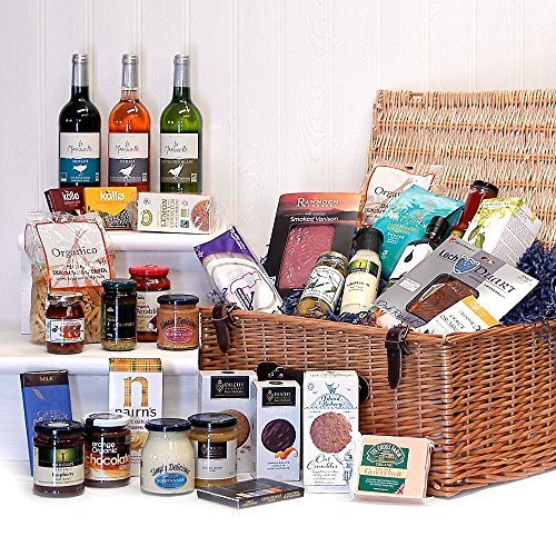 Connoisseurs Organic Luxury Food and Wine Hamper Presented in a Wicker Hamper - Gift Ideas for Christmas presents, Birthday, Wedding, Anniversary and Corporate