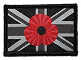 Union Jack Woven Embroidered Poppy Patch Black Small