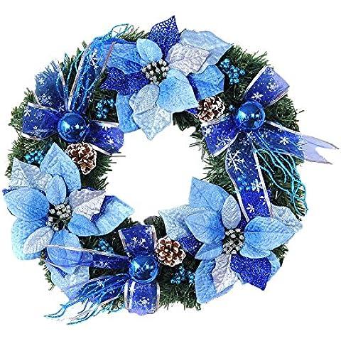 Decoración De Navidad Puerta De La Corona De Navidad Con Bowknot Y Piñas(Azúl)