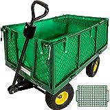 TecTake Carretto carrello rimorchio in ferro rimorchio trasport legna giardino carro vassoio estraibile 550kg