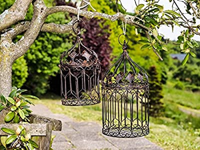 Decorative metal bird cage - vintage style - set of 2 - brown height 50cm / 35cm from aubaho