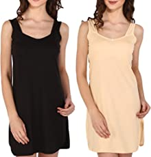 Bralux Women's Reshma Cotton Hosiery Full Slip Camisole BlackSkin Set of 2