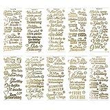 Gravur-Sticker, transparent/gold, 10 Bogen à 10 x 23 cm | Goldene Aufkleber zum Basteln & Dekorieren | Karten & Geschenke zu Geburtstag, Weihnachten, Rente & mehr (Wünsche & Gratulationen - gold)