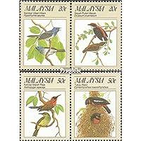 Malesia 380-383 Coppie (completa.Problema.) 1988 Protetta Animali: Uccelli (Francobolli )