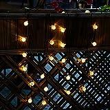 Cadena de Luces Solar Luminosa Exterior 30 LED de Bolas de Cristal para Fiesta Navidad Hogar o Exterior Jardín Árbol Camino de Multicolor Decoración Iluminación Luces (Blanco cálido)