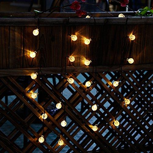 Solarbetriebene Lichterkette, 30LED-Leuchten mit Glaskugeln, für Außenbereiche Warmweiß