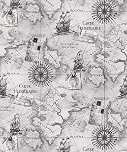 ARTHOUSE NAVIGATOR VIP CARTOGRAPHY LUXURY VINTAGE NAUTICAL MAP WALLPAPER (SILVER GREY 622004) by Navigator from Arthouse