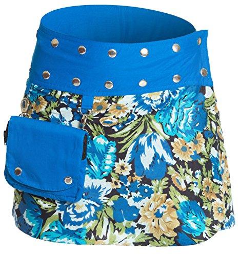 ufash Minirock aus Indien, Sommerrock kurz, Wenderock, Wickelrock Goa Gypsy Hüftschmeichler, Blau 2