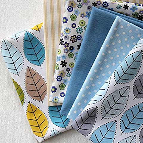 6 Fat Quarters - Leaf Forest - Blue, yellow, green, beige and grey colours. 100% Cotton Fabric. Ideal for Quilting and Craft Sewing (includes free patchwork