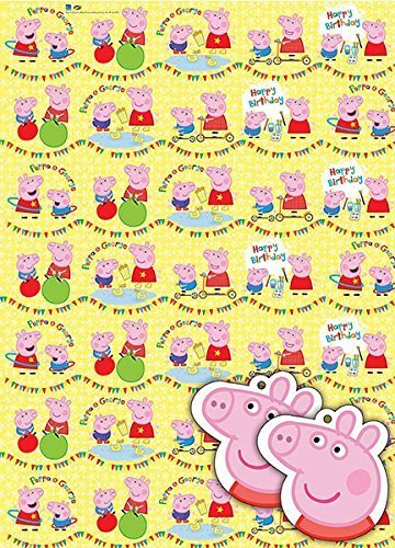 Image of Peppa Pig Gift Wrap Pack x 2 Sheets, 2 Gift Tags