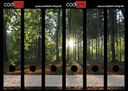 Set 6 Stück Ordner-Etiketten selbstklebend (Ordnerrücken Aufkleber Sticker) Wald mit Sonnenuntergang