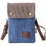 Canvas Handy Umhängetasche, Schultertasche Kosmetiktasche Universal Handytasche zum Umhängen Brieftasche Geldbörse Kleine Tas