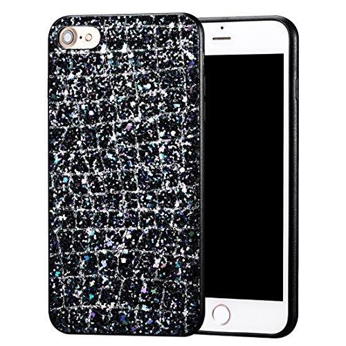 iPhone 8 Hülle, Luxus Bling Series CLTPY iPhone 7 Handytasche Dünne Hybrid Silikon & Hartzplastik Schale mit Glitzer Schwarzes Gold Muster für Apple iPhone 7/8 + 1 x Freier Stylus Bunt