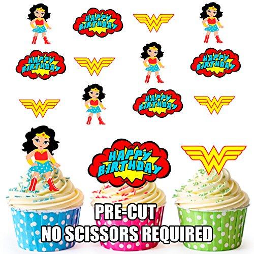AK Giftshop Lot de 12 Décorations Cupcakes Comestibles Prédécoupés Motif Wonder Woman Super-héro pour Gâteaux