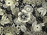 Brokatstoff mit Blumenmuster, Meterware, Schwarz