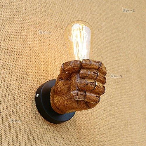 Modeen Rétro Vintage Intérieur Murale Light Fist Lampe de table en fer à bois Accueil Restaurant Bar Café Décoration Art Décoration Wll Lampe Droite Main Droite (Size : Left hand)