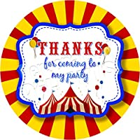 Personalised Delights Kids Party Circus Sticker Labels (24 Stickers, 4.5cm Each) NON PERSONALISED Seals Ideal for Party Bags, Sweet Cones, Favours, Jars, Presentations Gift Boxes, Bottles, Crafts