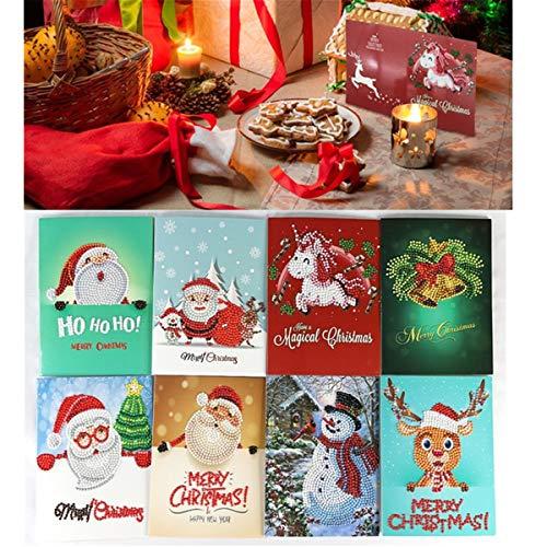 TOPWA Weihnachtskarten 5D DIY Diamant Gemälde Weihnachten Runde Bohrer Grußkarte Kreative Weihnachtskarten Strass Stickerei Kunst Bastelset Bilder Handgemachte Karten für Familie Freunde Liebhaber