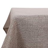 Deconovo Nappe de Tables Rectangulaire Imperméable Effet Lin Anti-tâche pour Picnic 130x280 cm Lin