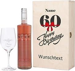 Herz & Heim® Bree Wein-Präsent mit graviertem Weinglas und Bree Wein zur Auswahl in Geschenkkiste zum 60. Geburtstag
