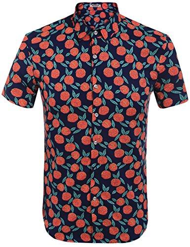 HOTOUCH Herren Hawaiihemd Urlaub Hemd Kurzarm Strandhemd Hawaii-Print Casual Baumwolle (Hawaii-print-shirts)