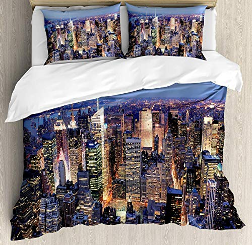 JamirtyRoy1 New York Duvet Cover Set King Size, Aerial View of NYC Full of Skyscrapers Manhattan Times Square Famous Cityscape Panorama, Decorative 3 Piece Bedding Set with 2 Pillow Shams, Blue -